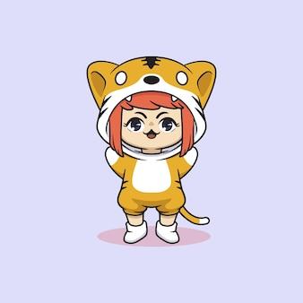 Cute kawaii girl in tiger costume character