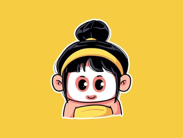Cute and kawaii girl use white sheet mask for skincare routine manga chibi illustration
