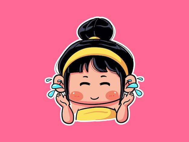 かわいいカワイイ女の子は、スキンケアルーチンのマンガちびイラストのために真水で顔を洗ってすすぎます