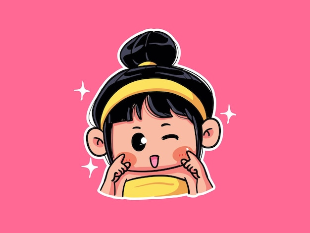 Cute and kawaii girl with bright glowing healthy skin smile and wink manga chibi illustration