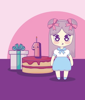 Cute kawaii girl with cake birthday card