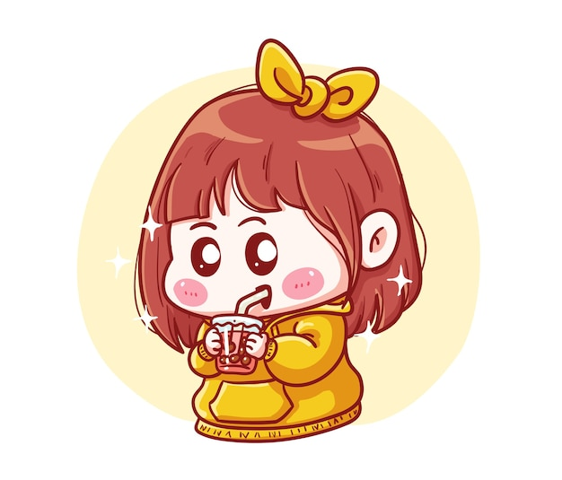 Cute and kawaii girl in yellow hoodie drink boba milk tea manga chibi illustration