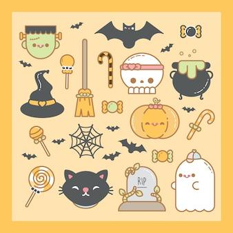 Cute kawaii halloween set