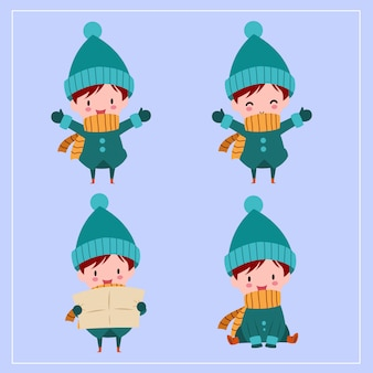 Cute kawaii hand drawn boys wearing winter costume with smiling and funny face in different poses