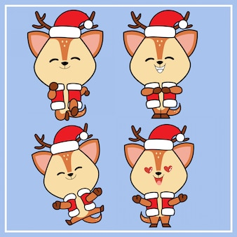 Cute kawaii hand drawn deer character with christmas hat collection