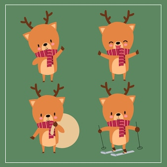Cute kawaii hand drawn deer wearing scarf with smiling and funny face in different poses