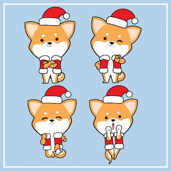 Cute kawaii hand drawn shiba inu dog character with christmas hat