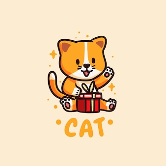 Cute and kawaii happy cat receiving gift illustration