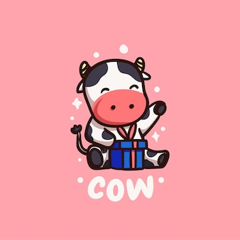 Cute and kawaii happy cow receiving gift illustration