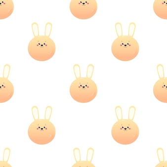 Cute kawaii hare rabbit. animal seamless pattern.