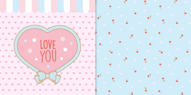 Cute kawaii heart shape frame with hearts and cherries seamless transparent pattern