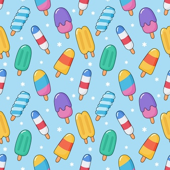 Cute kawaii ice cream seamless pattern.