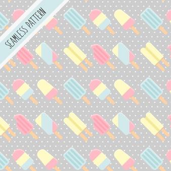 かわいいカワイイアイスクリームのシームレスパターン
