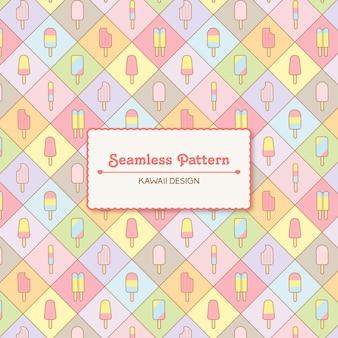 Cute kawaii ice creams vector premium seamless pattern