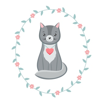 Cute kawaii kitten character with pink heart, inside floral wreath. valentine's day cat.