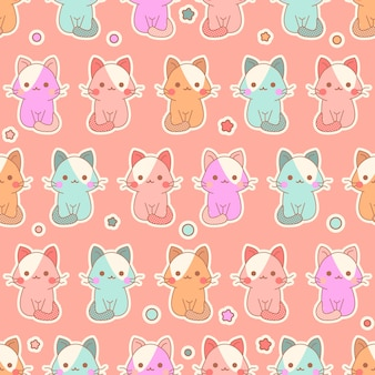 Cute kawaii kittens seamless pattern