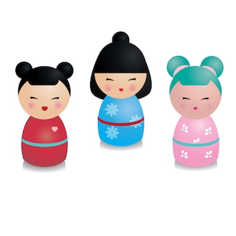 Cute kawaii kokeshi set