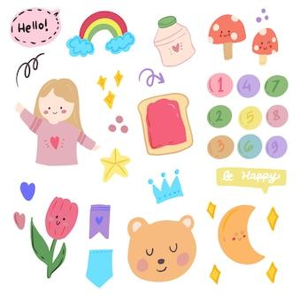 Cute kawaii korean sticker set with girl doodle art for bullet journal notes element