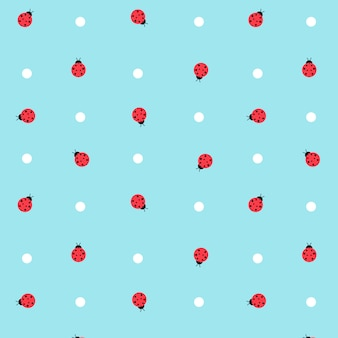 Cute kawaii lady bugs transparent seamless pattern