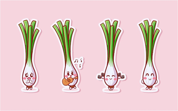 Cute and kawaii lemongrass sticker set with various activity and expression