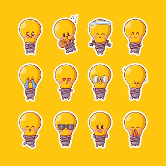 Cute kawaii light bulb character stickers illustration with various happy expression activity mascot