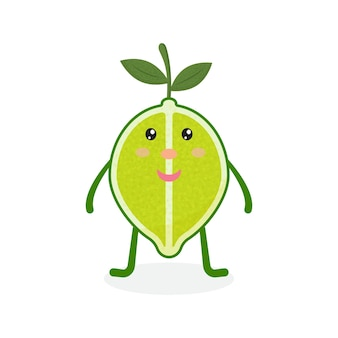 Cute kawaii lime cartoon ripe fruit vector illustration of cartoon green lime