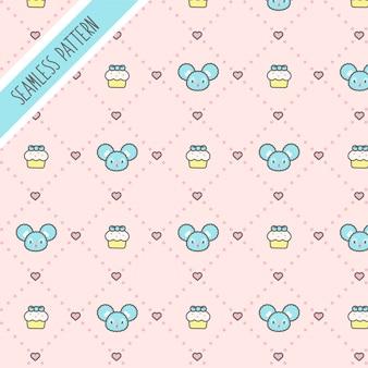귀여운 귀여운 작은 마우스와 컵 케이크 원활한 패턴
