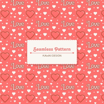 Cute kawaii love and hearts transparent seamless pattern