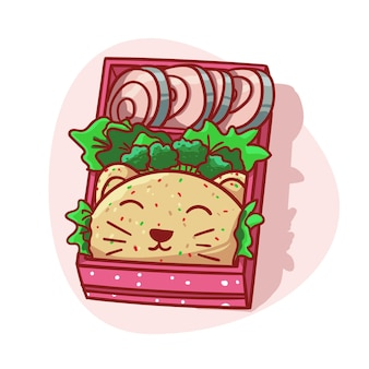 Cute and kawaii lunch box with cat head shaped rice menu colorful illustration