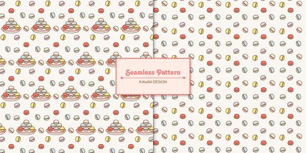 Cute kawaii macarons transparent seamless pattern