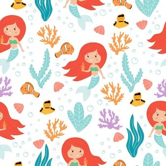 白い背景、漫画の魚、サンゴ礁、海藻のかわいいカワイイ人魚のシームレスパターン。