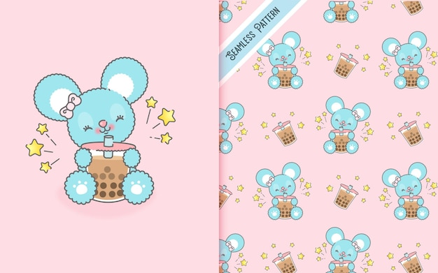 Cute kawaii mouse drinking a milkshake and seamless pattern