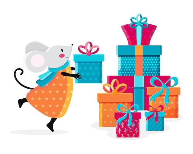 Симпатичная каваи-мышь рядом с кучей подарков. рождественские иллюстрации