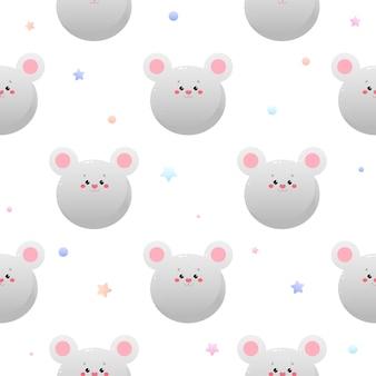 Cute kawaii mouse, rat. animal seamless pattern.