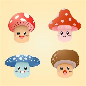 귀여운 귀여운 버섯 캐릭터 세트