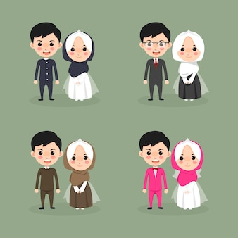 Cute kawaii muslim couple wedding