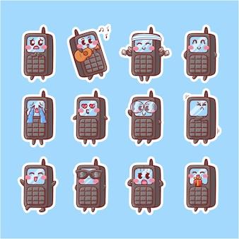 귀여운 카와이 오래된 전화 라디오 캐릭터 일러스트 다양한 활동 표현 마스코트 배지 세트