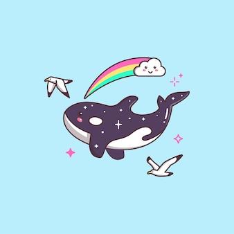 カモメと虹の描画イラストで飛んでいるかわいいカワイイシャチ