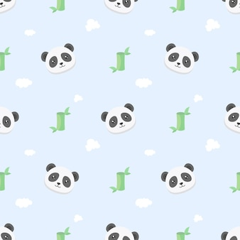 Cute kawaii panda and bamboo seamless pattern