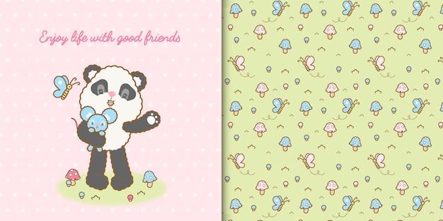 Cute kawaii panda bear and mouse with seamless pattern premium