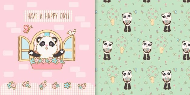 Cute kawaii panda bear with floral seamless transparent pattern