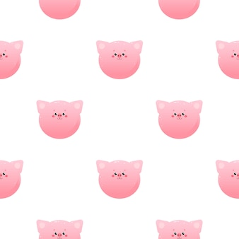 Cute kawaii pig, piglet. animal seamless pattern.