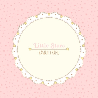 Cute kawaii pink laces and stars frame with stars seamless pattern