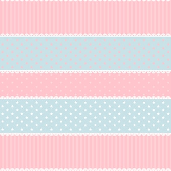 Cute kawaii pink and light blue seamless pattern