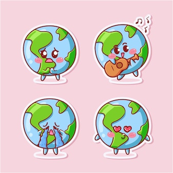 Cute and kawaii pizza sticker set with various activity and expression