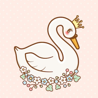 Cute kawaii princess swan with flowers