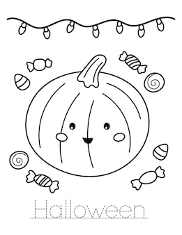 Cute kawaii pumpkin with sweets. write halloween word. education coloring page for kids.