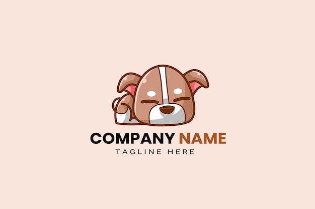 Cute kawaii puppy corgi dog mascot cartoon logo template icon illustration hand drawn