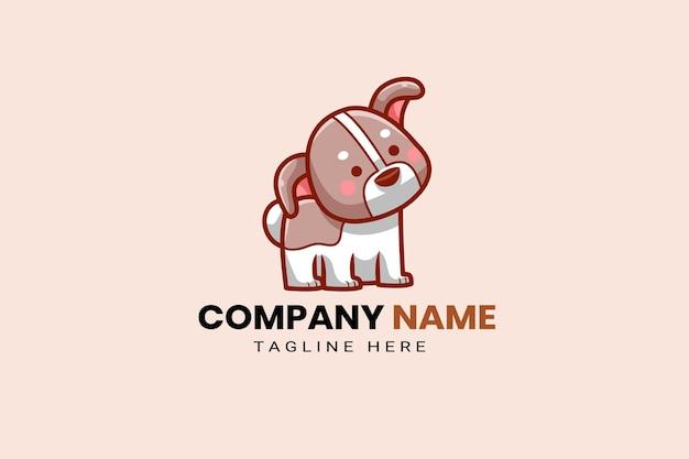かわいいかわいい子犬コーギー犬マスコット漫画ロゴテンプレートアイコンイラスト手描き
