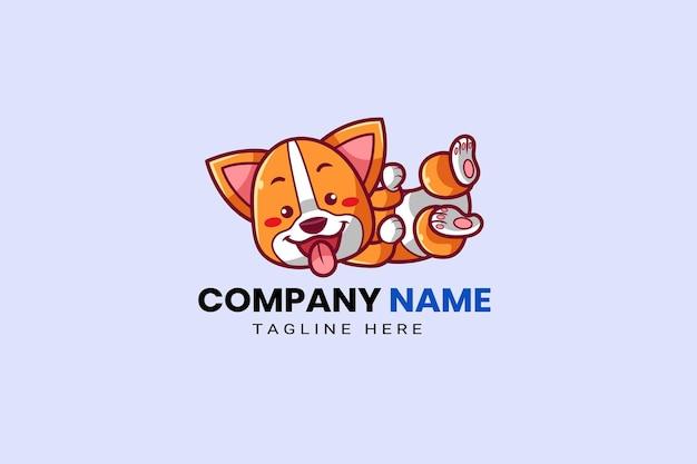 かわいいかわいい子犬コーギ柴犬犬マスコット漫画ロゴテンプレートアイコンイラスト手描き